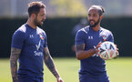 SOUTHAMPTON, ENGLAND - APRIL 16: Danny Ings(L) and Theo Walcott during a Southampton FC training session at the Staplewood Campus on April 16, 2021 in Southampton, England. (Photo by Matt Watson/Southampton FC via Getty Images)