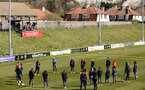 LEWES, ENGLAND - APRIL 18:  Scene setter before the Women's FA Cup 4th round match between Lewes FC and Southampton at The Dripping Pan on April 18, 2021 in Lewes, United Kingdom. Sporting stadiums around the UK remain under strict restrictions due to the Coronavirus pandemic as UK government social distancing laws prohibit fans inside venues resulting in games being played behind closed doors. (Photo by Chris Moorhouse/Southampton FC via Getty Images)