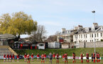 LEWES, ENGLAND - APRIL 18: A minute's silence for HRH Prince Phillip, Duke of Edinburgh, before the Women's FA Cup 4th round match between Lewes FC and Southampton at The Dripping Pan on April 18, 2021 in Lewes, United Kingdom. Sporting stadiums around the UK remain under strict restrictions due to the Coronavirus pandemic as UK government social distancing laws prohibit fans inside venues resulting in games being played behind closed doors. (Photo by Chris Moorhouse/Southampton FC via Getty Images)