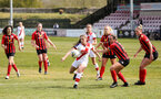 LEWES, ENGLAND - APRIL 18: Georgie Freeland scores Saints' opening goal. during the Women's FA Cup 4th round match between Lewes FC and Southampton at The Dripping Pan on April 18, 2021 in Lewes, United Kingdom. Sporting stadiums around the UK remain under strict restrictions due to the Coronavirus pandemic as UK government social distancing laws prohibit fans inside venues resulting in games being played behind closed doors. (Photo by Chris Moorhouse/Southampton FC via Getty Images)
