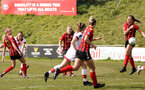 LEWES, ENGLAND - APRIL 18: Rachel Panting, second left, scores her wonder goal during the Women's FA Cup 4th round match between Lewes FC and Southampton at The Dripping Pan on April 18, 2021 in Lewes, United Kingdom. Sporting stadiums around the UK remain under strict restrictions due to the Coronavirus pandemic as UK government social distancing laws prohibit fans inside venues resulting in games being played behind closed doors. (Photo by Chris Moorhouse/Southampton FC via Getty Images)