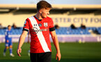 LEICESTER, ENGLAND - APRIL 19: Sam Bellis of Southampton during the Premier League 2 match between Leicester City and Southampton B Team at the Leicester City Training Ground on April 19, 2021 in Leicester, England.  (Photo by Isabelle Field/Southampton FC via Getty Images)