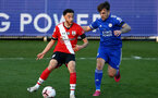 LEICESTER, ENGLAND - APRIL 19: Jayden Smith (L) of Southampton during the Premier League 2 match between Leicester City and Southampton B Team at the Leicester City Training Ground on April 19, 2021 in Leicester, England.  (Photo by Isabelle Field/Southampton FC via Getty Images)