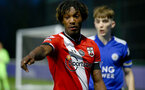 LEICESTER, ENGLAND - APRIL 19: Ramello Mitchell of Southampton during the Premier League 2 match between Leicester City and Southampton B Team at the Leicester City Training Ground on April 19, 2021 in Leicester, England.  (Photo by Isabelle Field/Southampton FC via Getty Images)