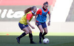 SOUTHAMPTON, ENGLAND - April 22: Kelly Snook (L) and Ella Pusey (R) during Southampton Women's training session at St Mary's Stadium on April 22, 2021 in Southampton, England.  (Photo by Isabelle Field/Southampton FC via Getty Images)