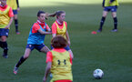 SOUTHAMPTON, ENGLAND - April 22: Sophia Pharoah(L)  and Rebecca Quinn (R) during Southampton Women's training session at St Mary's Stadium on April 22, 2021 in Southampton, England.  (Photo by Isabelle Field/Southampton FC via Getty Images)