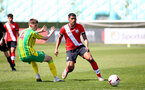 SOUTHAMPTON, ENGLAND - APRIL 24: Jeremi Rodriguez (R) of Southampton during the Premier League U18s match between Southampton U18 and West Bromwich Albion at Staplewood Campus on April 24, 2021 in Southampton, England. (Photo by Isabelle Field/Southampton FC via Getty Images)