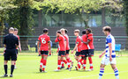 READING, ENGLAND - APRIL 27: Ramello Mitchell of Southampton celebrates scoring with his team mates during the Premier League U18s match between Reading and Southampton U18s at Bearwood Park Training Ground on April 27, 2021 in Reading, England. (Photo by Isabelle Field/Southampton FC via Getty Images)