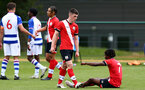 READING, ENGLAND - APRIL 27: Matt Carson (L) of Southampton and Ramello Mitchell (R) of Southampton during the Premier League U18s match between Reading and Southampton U18s at Bearwood Park Training Ground on April 27, 2021 in Reading, England. (Photo by Isabelle Field/Southampton FC via Getty Images)