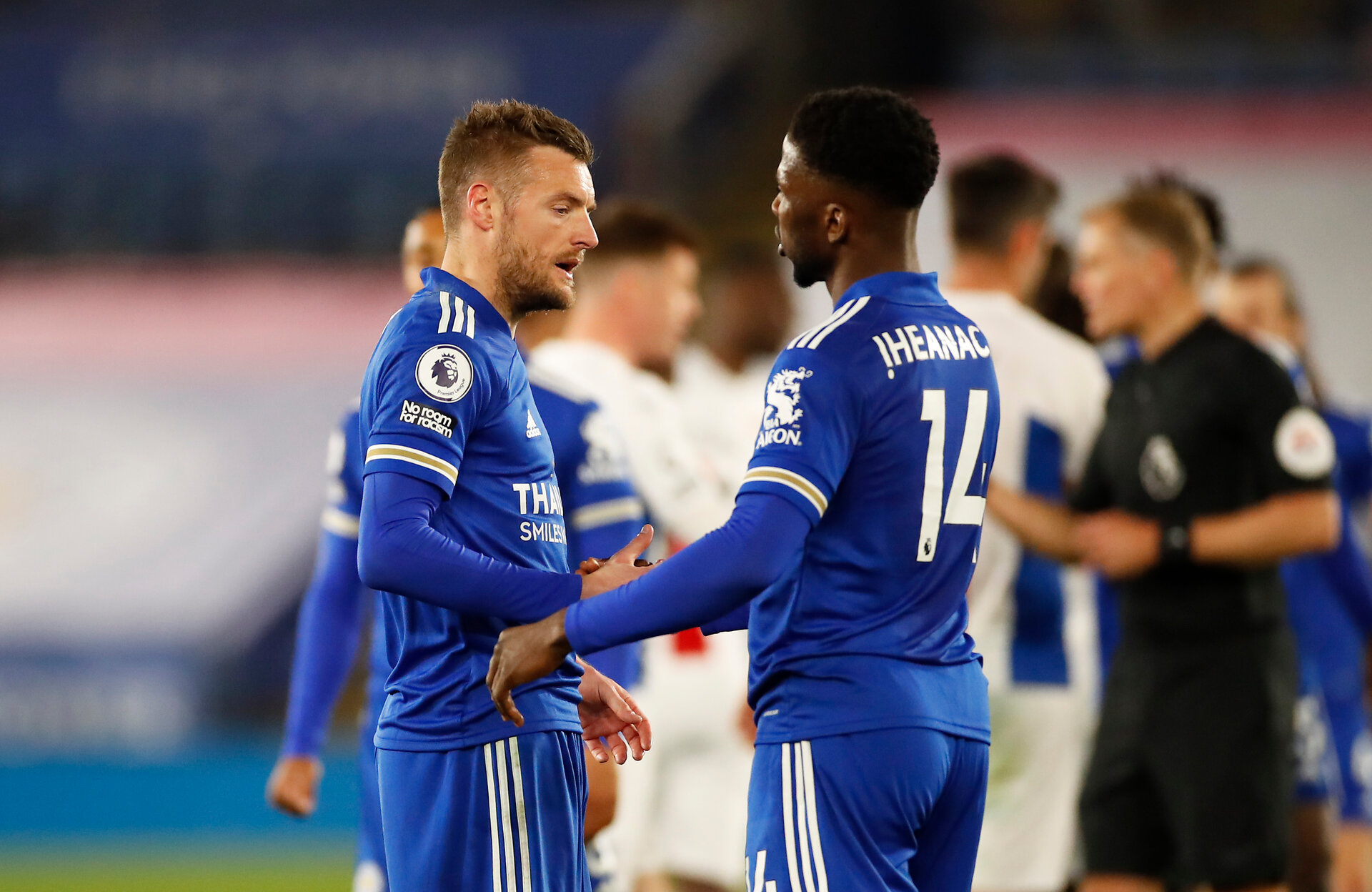 LEICESTER, ENGLAND - APRIL 26: Kelechi Iheanacho of Leicester City and Jamie Vardy of Leicester City celebrate on the final whistle during the Premier League match between Leicester City and Crystal Palace at The King Power Stadium on April 26, 2021 in Leicester, England. Sporting stadiums around the UK remain under strict restrictions due to the Coronavirus Pandemic as Government social distancing laws prohibit fans inside venues resulting in games being played behind closed doors.  (Photo by Andrew Boyers - Pool/Getty Images)