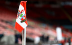 SOUTHAMPTON, ENGLAND - APRIL 30: A general view featuring a corner flag ahead of the Premier League match between Southampton and Leicester City at St Mary's Stadium on April 30, 2021 in Southampton, England. Sporting stadiums around the UK remain under strict restrictions due to the Coronavirus Pandemic as Government social distancing laws prohibit fans inside venues resulting in games being played behind closed doors.  (Photo by Matt Watson/Southampton FC via Getty Images)