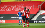 SOUTHAMPTON, ENGLAND - MAY 02: Dan N'Lundulu (L) of Southampton and Nathan Tella (R) of Southampton during the Premier League 2 match between Southampton B Team and Everton at the St Mayr's Stadium on May 02, 2021 in Southampton, England.  (Photo by Isabelle Field/Southampton FC via Getty Images)