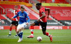 SOUTHAMPTON, ENGLAND - MAY 02: Dan N'Lundulu (R) of Southampton during the Premier League 2 match between Southampton B Team and Everton at the St Mayr's Stadium on May 02, 2021 in Southampton, England.  (Photo by Isabelle Field/Southampton FC via Getty Images)