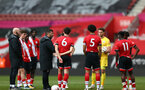 SOUTHAMPTON, ENGLAND - MAY 02: Southampton players after the Premier League 2 match between Southampton B Team and Everton at the St Mayr's Stadium on May 02, 2021 in Southampton, England.  (Photo by Isabelle Field/Southampton FC via Getty Images)