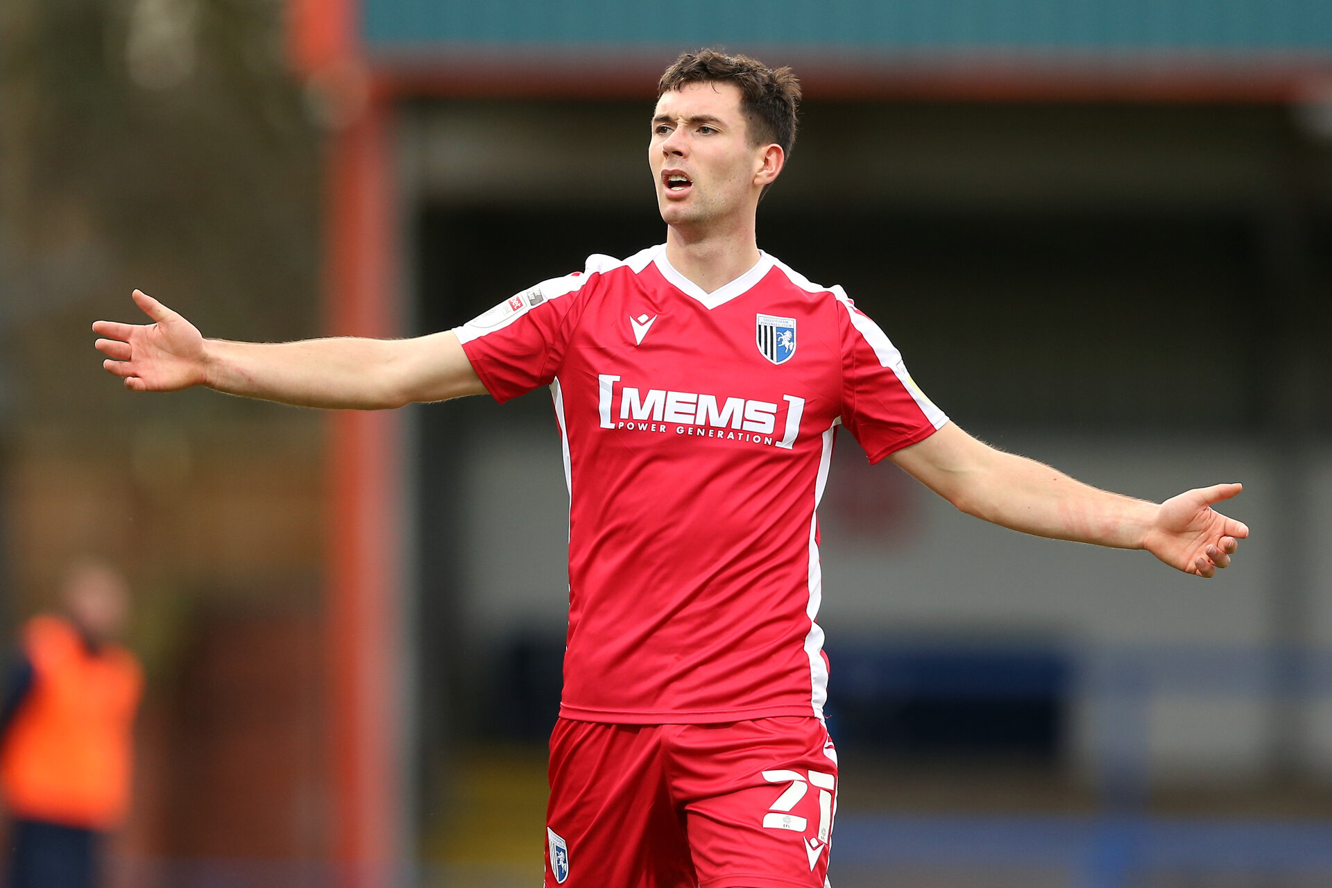 ROCHDALE, ENGLAND - DECEMBER 19: Tom O'Connor of Gillingham reacts during the Sky Bet League One match between Rochdale and Gillingham at Crown Oil Arena on December 19, 2020 in Rochdale, England. (Photo by Charlotte Tattersall/Getty Images)
