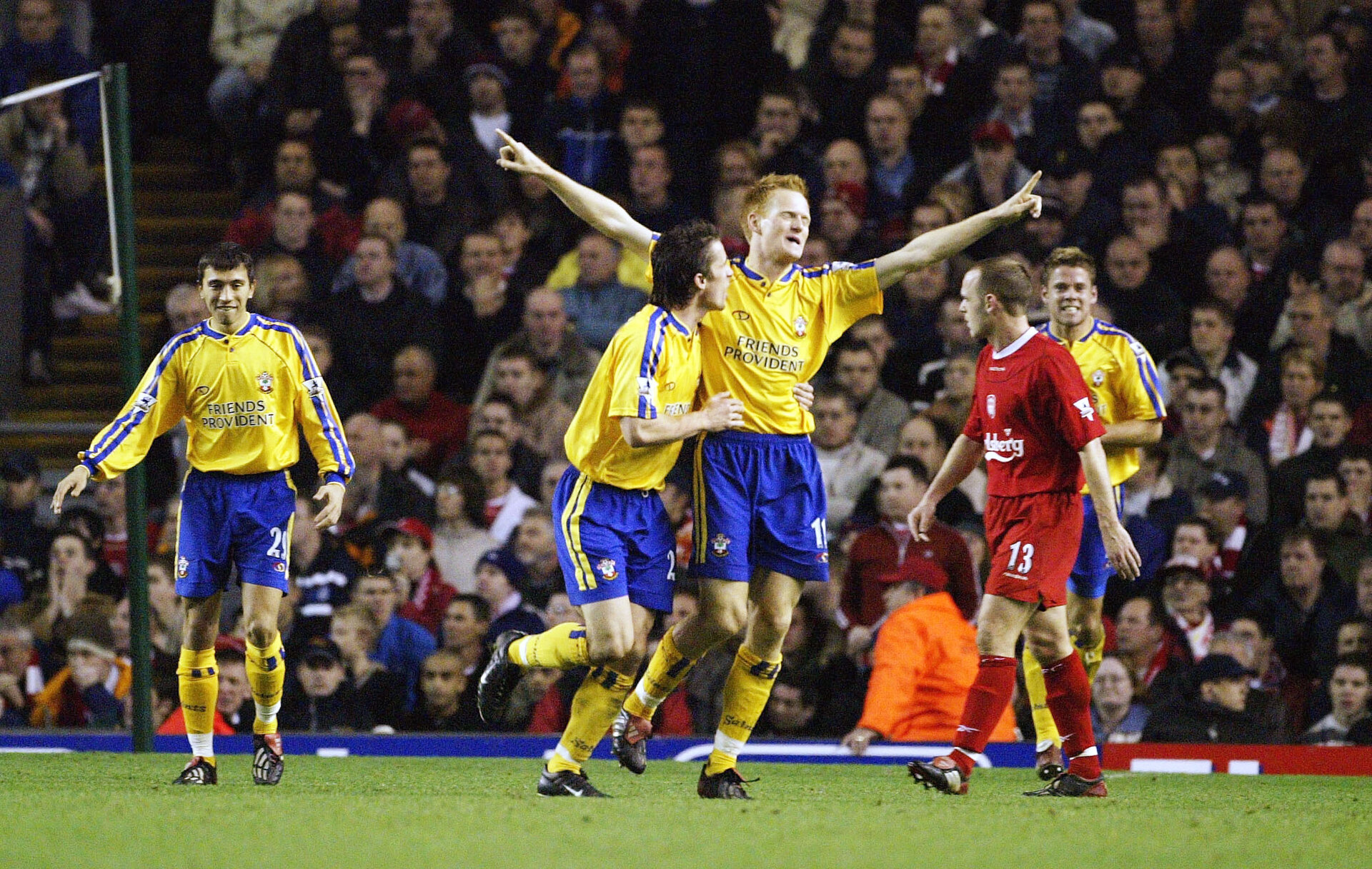 LIVERPOOL, ENGLAND - DECEMBER 13: Michael Svensson of Southampton celebrates scoring during the FA Barclaycard Premiership match between Liverpool and Southampton at Anfield on December 13, 2003 in Liverpool, England.  (Photo by Gary M.Prior/Getty Images)