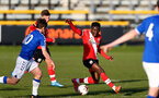 SOUTHPORT, ENGLAND - MAY 07: Kazeem Olaigbe (R) of Southampton during the Premier League 2 match between Everton and Southampton B Team at the The Pure Stadium on May 07, 2021 in Southport, England.  (Photo by Isabelle Field/Southampton FC via Getty Images)