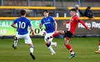 SOUTHPORT, ENGLAND - MAY 07: James Morris (R) of Southampton during the Premier League 2 match between Everton and Southampton B Team at the The Pure Stadium on May 07, 2021 in Southport, England.  (Photo by Isabelle Field/Southampton FC via Getty Images)