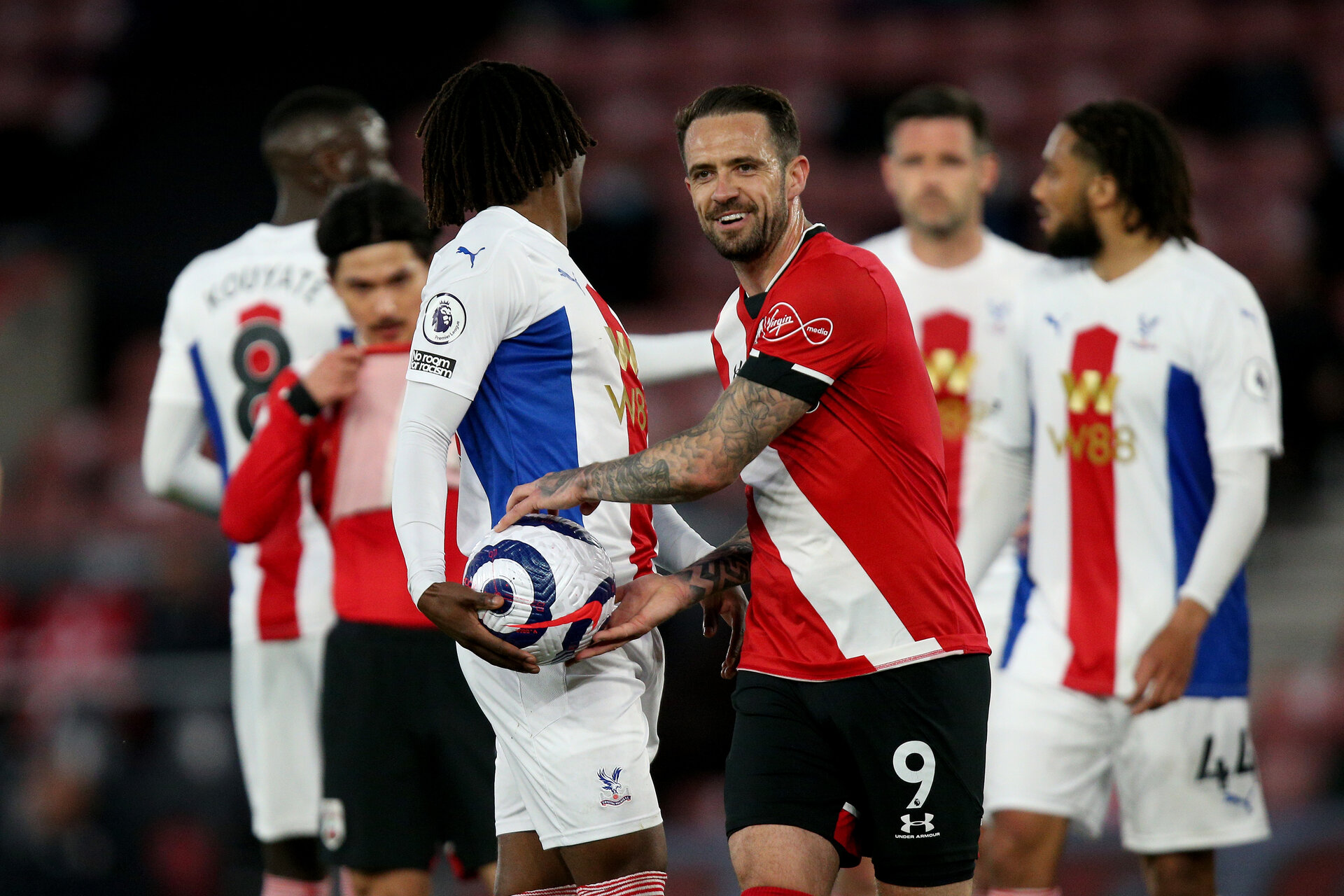 SOUTHAMPTON, ENGLAND - MAY 11: Danny Ings (R) of Southampton during the Premier League match between Southampton and Crystal Palace at St Mary's Stadium on May 11, 2021 in Southampton, England. Sporting stadiums around the UK remain under strict restrictions due to the Coronavirus Pandemic as Government social distancing laws prohibit fans inside venues resulting in games being played behind closed doors.  (Photo by Matt Watson/Southampton FC via Getty Images)