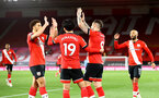 SOUTHAMPTON, ENGLAND - MAY 11: Danny Ings of Southampton celebrates scoring his second with his team mates during the Premier League match between Southampton and Crystal Palace at St Mary's Stadium on May 11, 2021 in Southampton, England. Sporting stadiums around the UK remain under strict restrictions due to the Coronavirus Pandemic as Government social distancing laws prohibit fans inside venues resulting in games being played behind closed doors.  (Photo by Matt Watson/Southampton FC via Getty Images)
