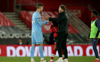 SOUTHAMPTON, ENGLAND - MAY 11: Fraser Forster (L) of Southampton and Ralph Hasenhuttl Southampton manager during the Premier League match between Southampton and Crystal Palace at St Mary's Stadium on May 11, 2021 in Southampton, England. Sporting stadiums around the UK remain under strict restrictions due to the Coronavirus Pandemic as Government social distancing laws prohibit fans inside venues resulting in games being played behind closed doors.  (Photo by Matt Watson/Southampton FC via Getty Images)