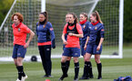 SOUTHAMPTON, ENGLAND - MAY 12: Molly Mott(L) and Emily Castagna(R) during Southampton Women's training session at Staplewood Training Ground on May 12, 2021 in Southampton, England.  (Photo by Isabelle Field/Southampton FC via Getty Images)