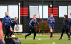 SOUTHAMPTON, ENGLAND - MAY 12: Cattlin Morris (center) during Southampton Women's training session at Staplewood Training Ground on May 12, 2021 in Southampton, England.  (Photo by Isabelle Field/Southampton FC via Getty Images)