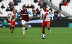 LONDON, ENGLAND - MAY 23: Kyle Walker-Peters(R) of Southampton and Pablo Fornals(L) of West Ham during the Premier League match between West Ham United and Southampton at London Stadium on May 23, 2021 in London, England. (Photo by Matt Watson/Southampton FC via Getty Images)