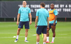 SOUTHAMPTON, ENGLAND - JULY 08: Oriol Romeu(L) and Michael Obafemi during a Southampton FC pre season training session at the Staplewood Campus on July 08, 2021 in Southampton, England. (Photo by Matt Watson/Southampton FC via Getty Images)