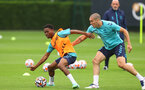 SOUTHAMPTON, ENGLAND - JULY 08: Nathan Tella(L) and Oriol Romeu during a Southampton FC pre season training session at the Staplewood Campus on July 08, 2021 in Southampton, England. (Photo by Matt Watson/Southampton FC via Getty Images)