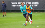 SOUTHAMPTON, ENGLAND - JULY 08: Jack Stephens(L) and Michael Obafemi during a Southampton FC pre season training session at the Staplewood Campus on July 08, 2021 in Southampton, England. (Photo by Matt Watson/Southampton FC via Getty Images)