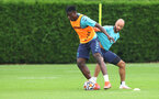 SOUTHAMPTON, ENGLAND - JULY 08: Mohammed Salisu(L) and Nathan Redmond during a Southampton FC pre season training session at the Staplewood Campus on July 08, 2021 in Southampton, England. (Photo by Matt Watson/Southampton FC via Getty Images)