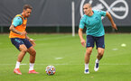SOUTHAMPTON, ENGLAND - JULY 08: Danny Ings(L) and Oriol Romeu during a Southampton FC pre season training session at the Staplewood Campus on July 08, 2021 in Southampton, England. (Photo by Matt Watson/Southampton FC via Getty Images)