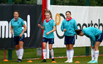 SOUTHAMPTON, ENGLAND - July 08: Kirsty Whitton(L) Alisha Ware and Georgie Freeland(R) during Southampton Women's per season training session at Staplewood training ground on July 08, 2021 in Southampton, England. (Photo by Isabelle Field/Southampton FC via Getty Images)