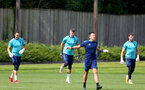 SOUTHAMPTON, ENGLAND - JULY 13: Alex McCarthy(L), Fraser Forster and Harry Lewis(R)  during pre-season training session at Staplewood Complex on July 13, 2021 in Southampton, England. (Photo by Isabelle Field/Southampton FC via Getty Images)