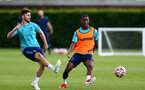 SOUTHAMPTON, ENGLAND - JULY 13: Shane Long and Idrahima Diallo during pre-season training session at Staplewood Complex on July 13, 2021 in Southampton, England. (Photo by Isabelle Field/Southampton FC via Getty Images)