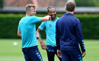 SOUTHAMPTON, ENGLAND - JULY 13: Theo Walcott (center) during pre-season training session at Staplewood Complex on July 13, 2021 in Southampton, England. (Photo by Isabelle Field/Southampton FC via Getty Images)