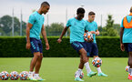 SOUTHAMPTON, ENGLAND - JULY 13: Yan Valery(L) and Nathan Tella(R) during pre-season training session at Staplewood Complex on July 13, 2021 in Southampton, England. (Photo by Isabelle Field/Southampton FC via Getty Images)
