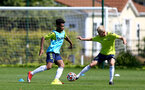 SOUTHAMPTON, ENGLAND - July 14: Fedel Ross-Lang(L) and Jeremiah Hewlett during Southampton U18s per season training session at Staplewood training ground on July 14, 2021 in Southampton, England. (Photo by Isabelle Field/Southampton FC via Getty Images)