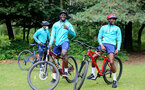SOUTHAMPTON, ENGLAND - JULY 15: Mohammed Salisu(L) and Moussa Djenepo(R) during team building cycle ride around Deerleap, New Forest on July 15, 2021 in Southampton, England. (Photo by Isabelle Field/Southampton FC via Getty Images)