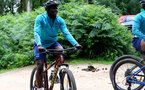 SOUTHAMPTON, ENGLAND - JULY 15: Mohammed Salisu during team building cycle ride around Deerleap, New Forest on July 15, 2021 in Southampton, England. (Photo by Isabelle Field/Southampton FC via Getty Images)
