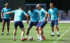 SOUTHAMPTON, ENGLAND - JULY 19: Mohammed Salisu(centre) and Oriol Romeu(R) during a Southampton FC pre season training session at the Staplewood Campus on July 19, 2021 in Southampton, England. (Photo by Matt Watson/Southampton FC via Getty Images)