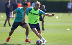 SOUTHAMPTON, ENGLAND - JULY 22: Mohamed Elyounoussi(L) and Stuart Armstrong during a Southampton FC pre season training session at The Staplewood Campus on July 22, 2021 in Southampton, England. Photo by Matt Watson/Southampton FC via Getty Images