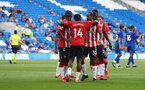 CARDIFF, WALES - JULY 27: Theo Walcott of Southampton(32) celebrates after scoring during the Pre-Season Friendly match between Cardiff City and Southampton at Cardiff City Stadium on July 27, 2021 in Cardiff, Wales. Photo by Matt Watson/Southampton FC via Getty Images