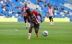 CARDIFF, WALES - JULY 27: Michael Obafemi of Southampton during the Pre-Season Friendly match between Cardiff City and Southampton at Cardiff City Stadium on July 27, 2021 in Cardiff, Wales. Photo by Matt Watson/Southampton FC via Getty Images