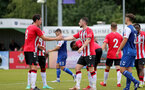 SOUTHAMPTON, ENGLAND - July 27: Ethan Burnett(L) and Will Ferry(R) of Southampton during pre season friendly between AFC Totton and Southampton B Team at Snows Stadium on July 27, 2021 in Southampton, England. (Photo by Isabelle Field/Southampton FC via Getty Images)