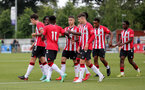 SOUTHAMPTON, ENGLAND - July 27: Southampton players opening the scoring  during pre season friendly between AFC Totton and Southampton B Team at Snows Stadium on July 27, 2021 in Southampton, England. (Photo by Isabelle Field/Southampton FC via Getty Images)