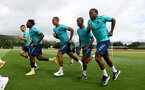 CARDIFF, WALES - JULY 28: L to R, Mohamed Elyounoussi, Mohammed Salisu, Yan Valery, Ibrahima Diallo and Michael Obafemi during a Southampton FC pre-season recovery session at The Vale Resort, Vale of Glamorgan on July 28, 2021 in Cardiff, Wales. Photo by Matt Watson/Southampton FC via Getty Images
