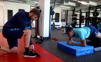CARDIFF, WALES - JULY 28: Alek Gross(R) works with Yan Valery during a Southampton FC pre-season recovery session at The Vale Resort, Vale of Glamorgan on July 28, 2021 in Cardiff, Wales. Photo by Matt Watson/Southampton FC via Getty Images