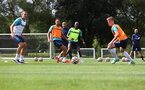 CARDIFF, WALES - JULY 29: L to R Oriol Romeu, Danny Ings, Moussa Djenepo and ? during a Southampton FC pre season training session at the Vale Resort, Vale of Glamorgan on July 29, 2021 in Cardiff, Wales. (Photo by Matt Watson/Southampton FC via Getty Images)
